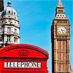 a view of Big Ben and a classic red phone box in London, United Kingdom