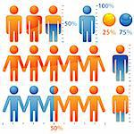 Set of icons peoples with percents the population, element for design, vector illustration Stock Photo - Royalty-Free, Artist: TAlex                         , Code: 400-05374081
