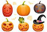 Big collect Halloween pumpkin Jack O'Lantern, element for design, vector illustration Stock Photo - Royalty-Free, Artist: TAlex                         , Code: 400-05374095