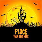 Halloween background with castle, element for design, vector illustration Stock Photo - Royalty-Free, Artist: TAlex                         , Code: 400-05374099
