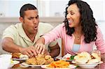 Couple Having Lunch Together At Home Stock Photo - Royalty-Free, Artist: MonkeyBusinessImages          , Code: 400-05374152