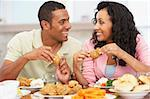 Couple Having Lunch Together At Home Stock Photo - Royalty-Free, Artist: MonkeyBusinessImages          , Code: 400-05374154
