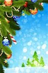 Christmas Card with fir-tree sparkles and decoration for your design