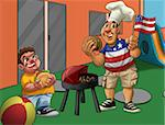 boy and father eating babecue in the independence day
