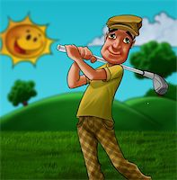 man in a grass field playing golf in a summer day Stock Photo - Royalty-Freenull, Code: 400-05375771