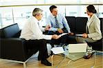 Portrait of busy people discussing new working plan at meeting Stock Photo - Royalty-Free, Artist: pressmaster                   , Code: 400-05376646