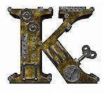 steampunk letter k on white background - 3d illustration Stock Photo - Royalty-Free, Artist: drizzd                        , Code: 400-05376772