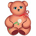 Little teddy bear with flower. Illustration on white background