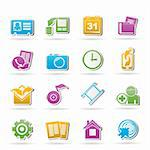 Mobile phone menu icons - vector icon set Stock Photo - Royalty-Free, Artist: stoyanh                       , Code: 400-05377143