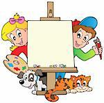 Cartoon kids with painting canvas - vector illustration. Stock Photo - Royalty-Free, Artist: clairev                       , Code: 400-05377341
