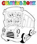 Coloring book with bus and children - vector illustration. Stock Photo - Royalty-Free, Artist: clairev                       , Code: 400-05377346