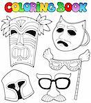 Coloring book with different masks - vector illustration. Stock Photo - Royalty-Free, Artist: clairev                       , Code: 400-05377349