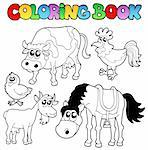 Coloring book with farm cartoons - vector illustration. Stock Photo - Royalty-Free, Artist: clairev                       , Code: 400-05377350