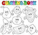 Coloring book with various fruits - vector illustration. Stock Photo - Royalty-Free, Artist: clairev                       , Code: 400-05377361