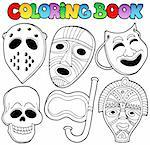 Coloring book with various masks - vector illustration. Stock Photo - Royalty-Free, Artist: clairev                       , Code: 400-05377362