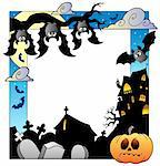 Frame with Halloween topic 5 - vector illustration. Stock Photo - Royalty-Free, Artist: clairev                       , Code: 400-05377368