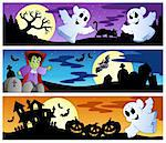 Halloween banners set 1 - vector illustration.