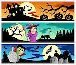 Halloween banners set 2 - vector illustration. Stock Photo - Royalty-Free, Artist: clairev                       , Code: 400-05377370