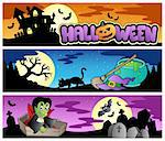 Halloween banners set 3 - vector illustration.