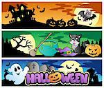 Halloween banners set 4 - vector illustration. Stock Photo - Royalty-Free, Artist: clairev                       , Code: 400-05377372