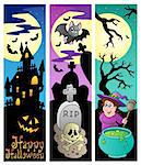 Halloween banners set 6 - vector illustration.
