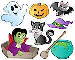 Halloween cute cartoons set 1 - vector illustration. Stock Photo - Royalty-Free, Artist: clairev                       , Code: 400-05377375