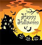 Happy Halloween theme with Moon 1 - vector illustration. Stock Photo - Royalty-Free, Artist: clairev                       , Code: 400-05377377