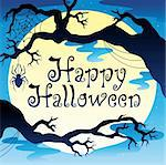 Happy Halloween theme with Moon 3 - vector illustration. Stock Photo - Royalty-Free, Artist: clairev                       , Code: 400-05377379