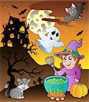 Scene with Halloween theme 1 - vector illustration.