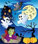 Scene with Halloween theme 2 - vector illustration.