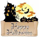Theme with Happy Halloween banner 1 - vector illustration. Stock Photo - Royalty-Free, Artist: clairev                       , Code: 400-05377383