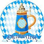 Round  Oktoberfest Celebration design with mug Stock Photo - Royalty-Free, Artist: Dazdraperma                   , Code: 400-05379115