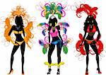 Vector Illustration of Carnival Silhouettes 2