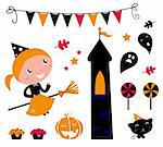 Cute little Halloween Witch, various items for celebration. Vector   Stock Photo - Royalty-Free, Artist: lordalea                      , Code: 400-05380087