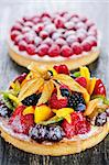 Fresh dessert tarts with assorted fruits and berries Stock Photo - Royalty-Free, Artist: Elenathewise                  , Code: 400-05380259