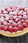 Fresh dessert fruit tart covered in raspberries Stock Photo - Royalty-Free, Artist: Elenathewise                  , Code: 400-05380260