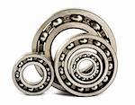 Four steel ball bearings isolated on a white background Stock Photo - Royalty-Free, Artist: Mbongo                        , Code: 400-05380612
