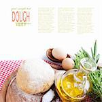 Fresh dough balls with egg, olive oil, fresh herbs and salt. Stock Photo - Royalty-Free, Artist: mythja                        , Code: 400-05381666
