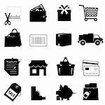 Shopping symbols icon set on white Stock Photo - Royalty-Free, Artist: soleilc                       , Code: 400-05381745