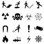 Warning, caution and danger signs icon set Stock Photo - Royalty-Free, Artist: soleilc                       , Code: 400-05381747