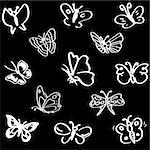 Vector picture of a butterfly on a black background Stock Photo - Royalty-Free, Artist: kotafeich                     , Code: 400-05381797