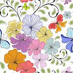 White seamless floral pattern with pastel flowers and butterflies (vector) Stock Photo - Royalty-Free, Artist: OlgaDrozd                     , Code: 400-05382101