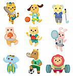 cartoon animal sport player icons set Stock Photo - Royalty-Free, Artist: notkoo2008                    , Code: 400-05383166