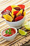 Bowl of salsa with colorful tortilla chips and lime Stock Photo - Royalty-Free, Artist: Elenathewise                  , Code: 400-05383347