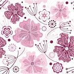 White and pink seamless floral pattern with pastel flowers (vector) Stock Photo - Royalty-Free, Artist: OlgaDrozd                     , Code: 400-05384057