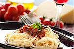 Spaghetti with tomato sauce, capers and anchovies. Stock Photo - Royalty-Free, Artist: mythja                        , Code: 400-05384754