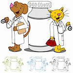 An image of cat and dog doctors next to a bottle of medicine. Stock Photo - Royalty-Free, Artist: cteconsulting                 , Code: 400-05385033