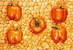 composition of peppers and carrots, orange background Stock Photo - Royalty-Free, Artist: alephcomo                     , Code: 400-05385202