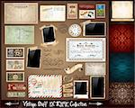 Vintage Stuff Extreme Collection - 3 seamless wallpaper, a parchment, photo frames, adhesive straps, vintage labels, postcards, Ribbon, postage stamps and so on Stock Photo - Royalty-Free, Artist: DavidArts                     , Code: 400-05385678