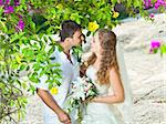 Bride and groom in a tropical garden Stock Photo - Royalty-Free, Artist: GoodOlga                      , Code: 400-05386296